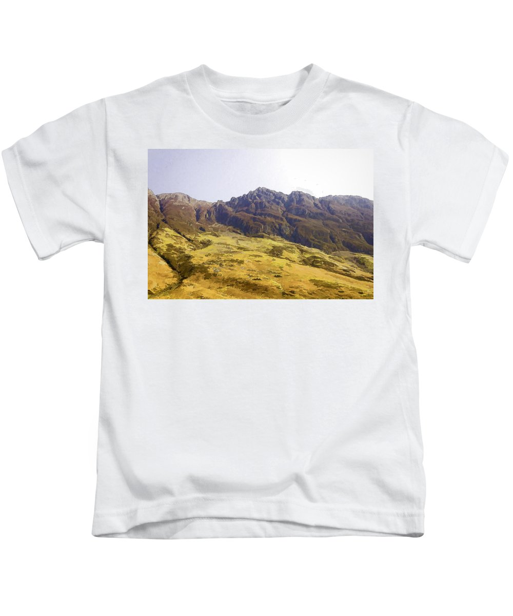 Blue Sky Kids T-Shirt featuring the photograph Slope Of Hills In The Scottish Highlands by Ashish Agarwal
