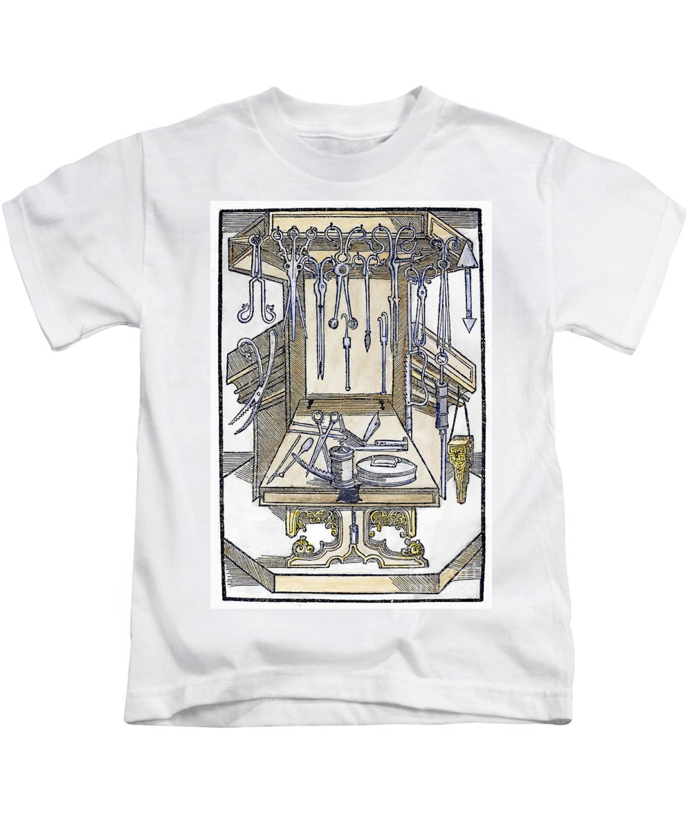 15th Century Kids T-Shirt featuring the photograph Surgical Instruments by Granger