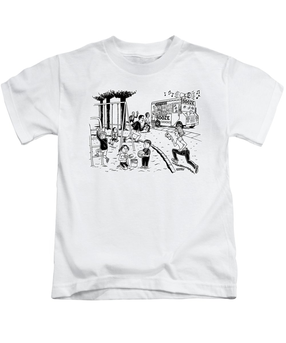 Captionless Kids T-Shirt featuring the drawing New Yorker July 21st, 2008 by Ward Sutton