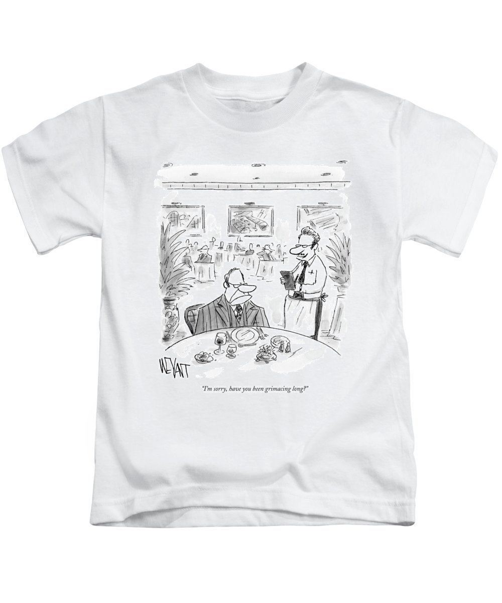 Service Dining Problems Word Play  (waiter To Angry Restaurant Patron.) 122595 Cwe Christopher Weyant Kids T-Shirt featuring the drawing I'm Sorry, Have You Been Grimacing Long? by Christopher Weyant