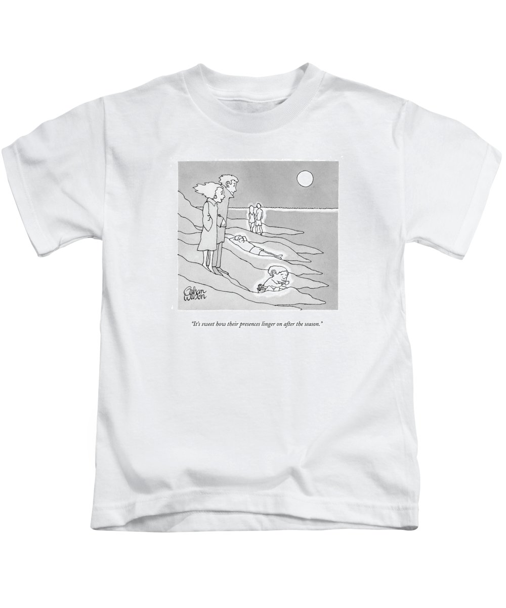 Beaches Kids T-Shirt featuring the drawing It's Sweet How Their Presences Linger by Gahan Wilson
