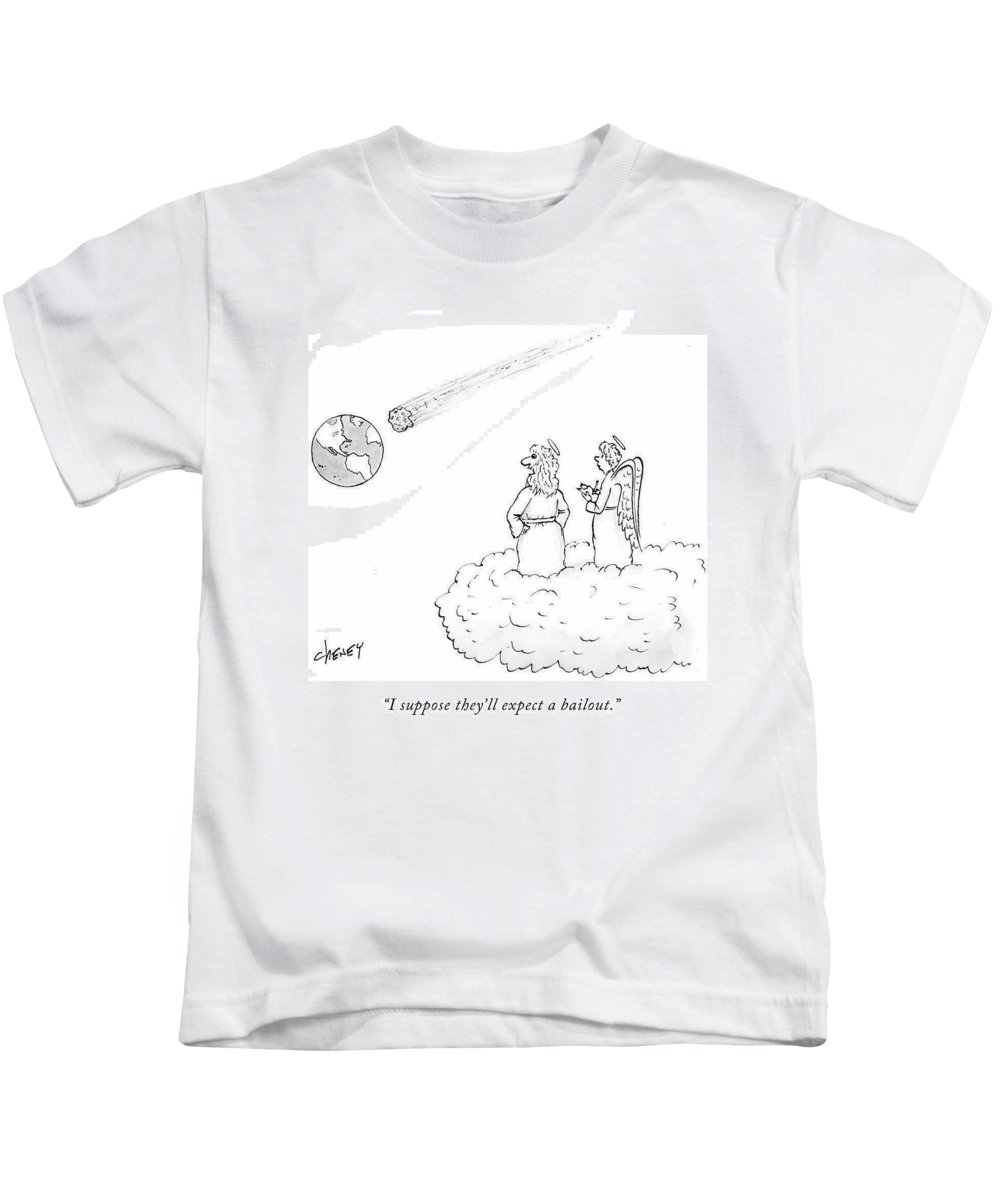 Mortgage Kids T-Shirt featuring the drawing I Suppose They'll Expect A Bailout by Tom Cheney