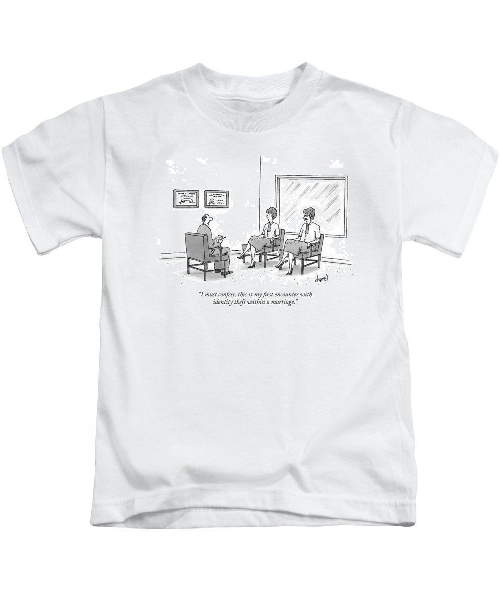 Relationships Crime Fashion Therapy Kids T-Shirt featuring the drawing I Must Confess by Tom Cheney