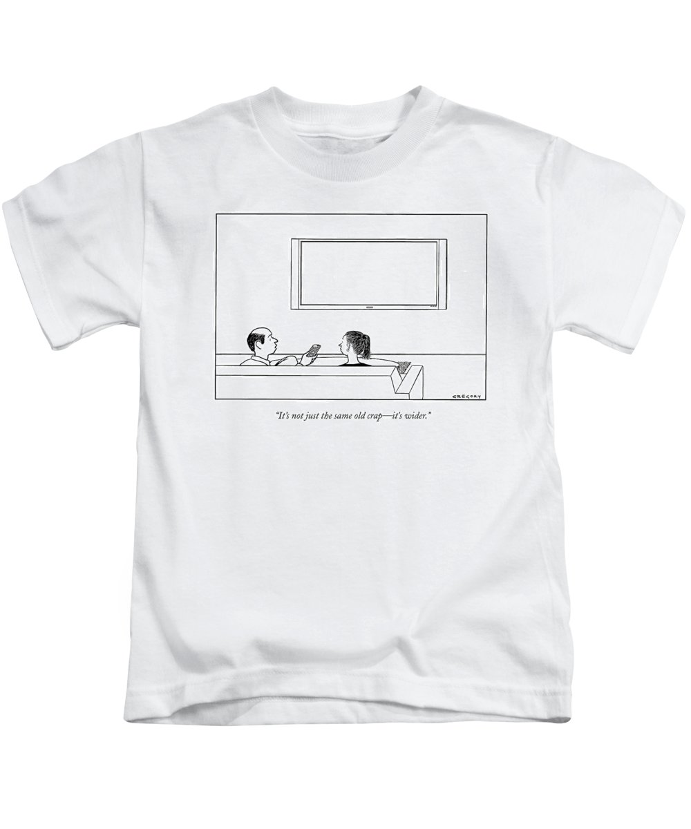 Flatscreen Kids T-Shirt featuring the drawing It's Not Just The Same Old Crap - It's Wider by Alex Gregory