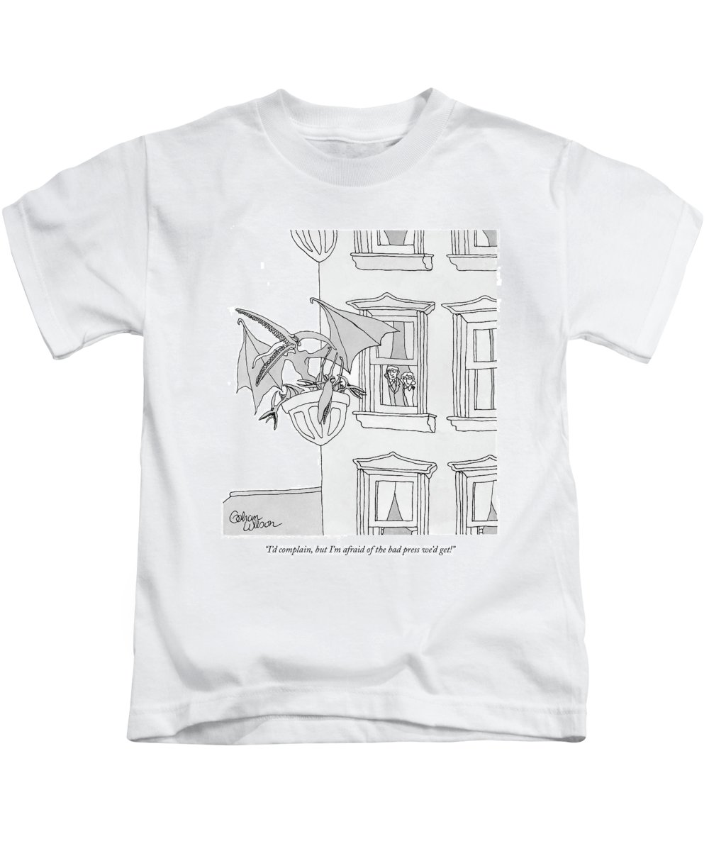 Architecture Problems Real Estate New York City Urban Dinosaurs Falcons Birds  Pale Male Red-tailed Red Tailed Hawks Fifth Avenue Nature Nesting (frightened Couple Comment About A Family Of Terydactyls Nested Outside Their Apartment Window.) 120911 Gwi Gahan Wilson Kids T-Shirt featuring the drawing I'd Complain by Gahan Wilson
