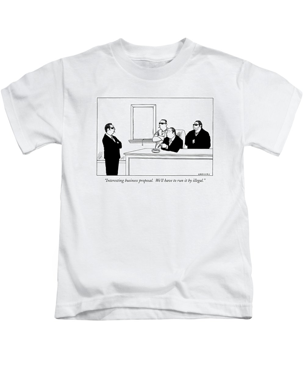 Mob Kids T-Shirt featuring the drawing Interesting Business Proposal. We'll Have To Run by Alex Gregory