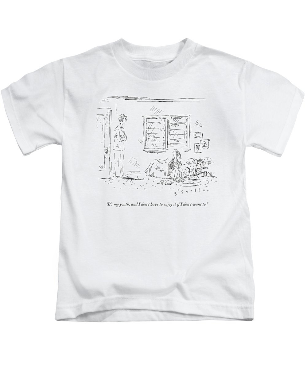 Depression Kids T-Shirt featuring the drawing It's My Youth by Barbara Smaller