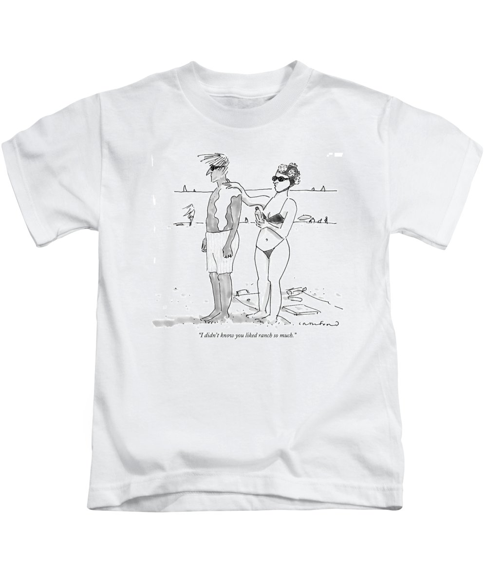Seashore Food Low Cuisine  (woman Applying Salad Dressing On Her Husband's Back Instead Of Sunscreen.) 122570 Mcr Michael Crawford Kids T-Shirt featuring the drawing I Didn't Know You Liked Ranch So Much by Michael Crawford