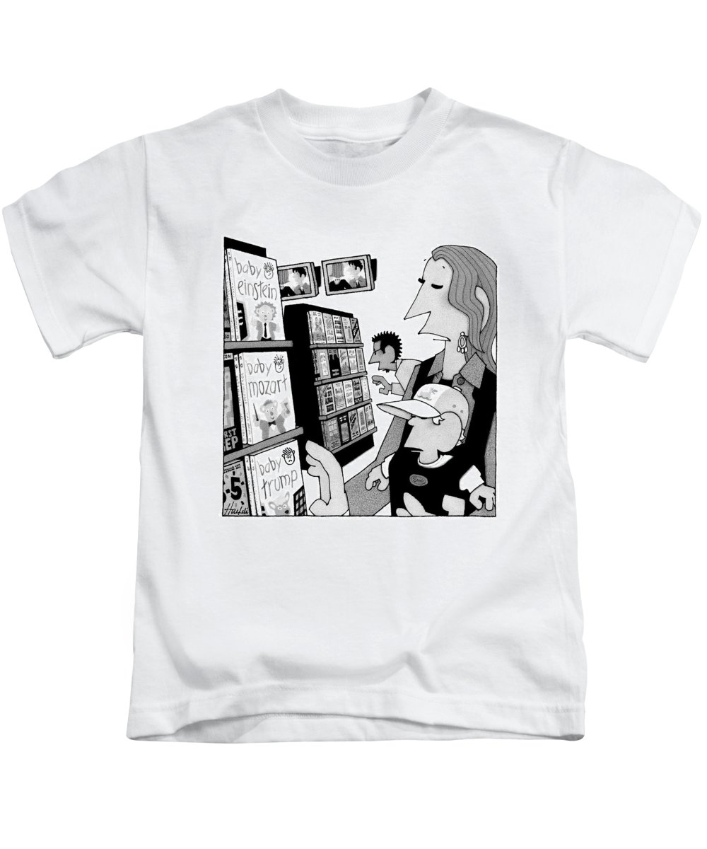 Baby Kids T-Shirt featuring the drawing New Yorker May 19th, 2008 by William Haefeli