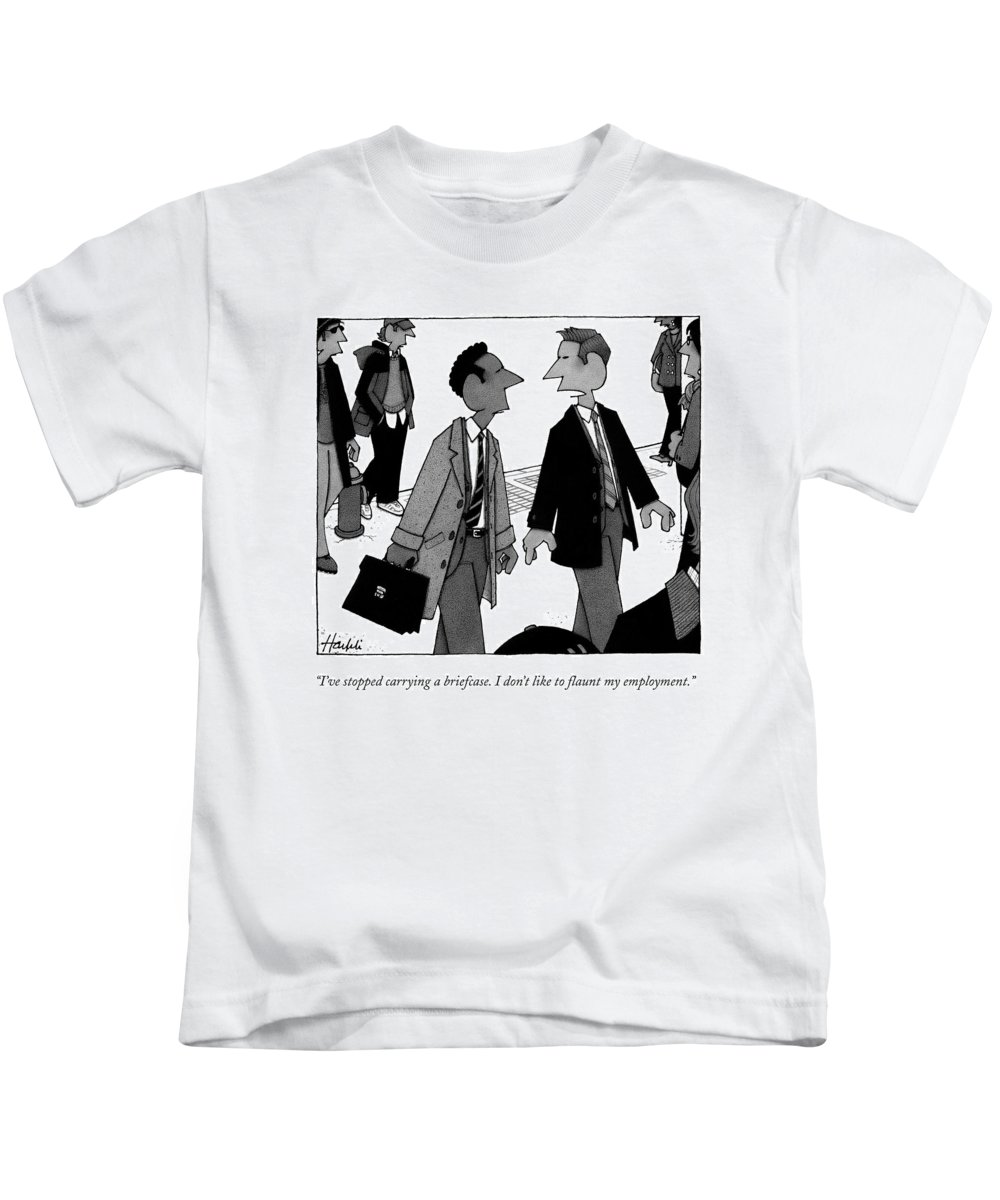 Briefcase Kids T-Shirt featuring the drawing I've Stopped Carrying A Briefcase. I Don't Like by William Haefeli