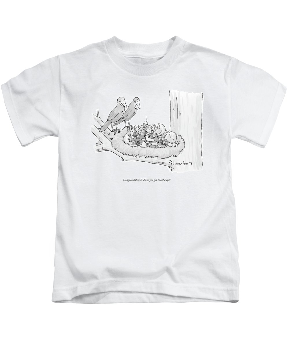 Word Play Kids T-Shirt featuring the drawing Congratulations! Now You Get To Eat Bugs! by Danny Shanahan