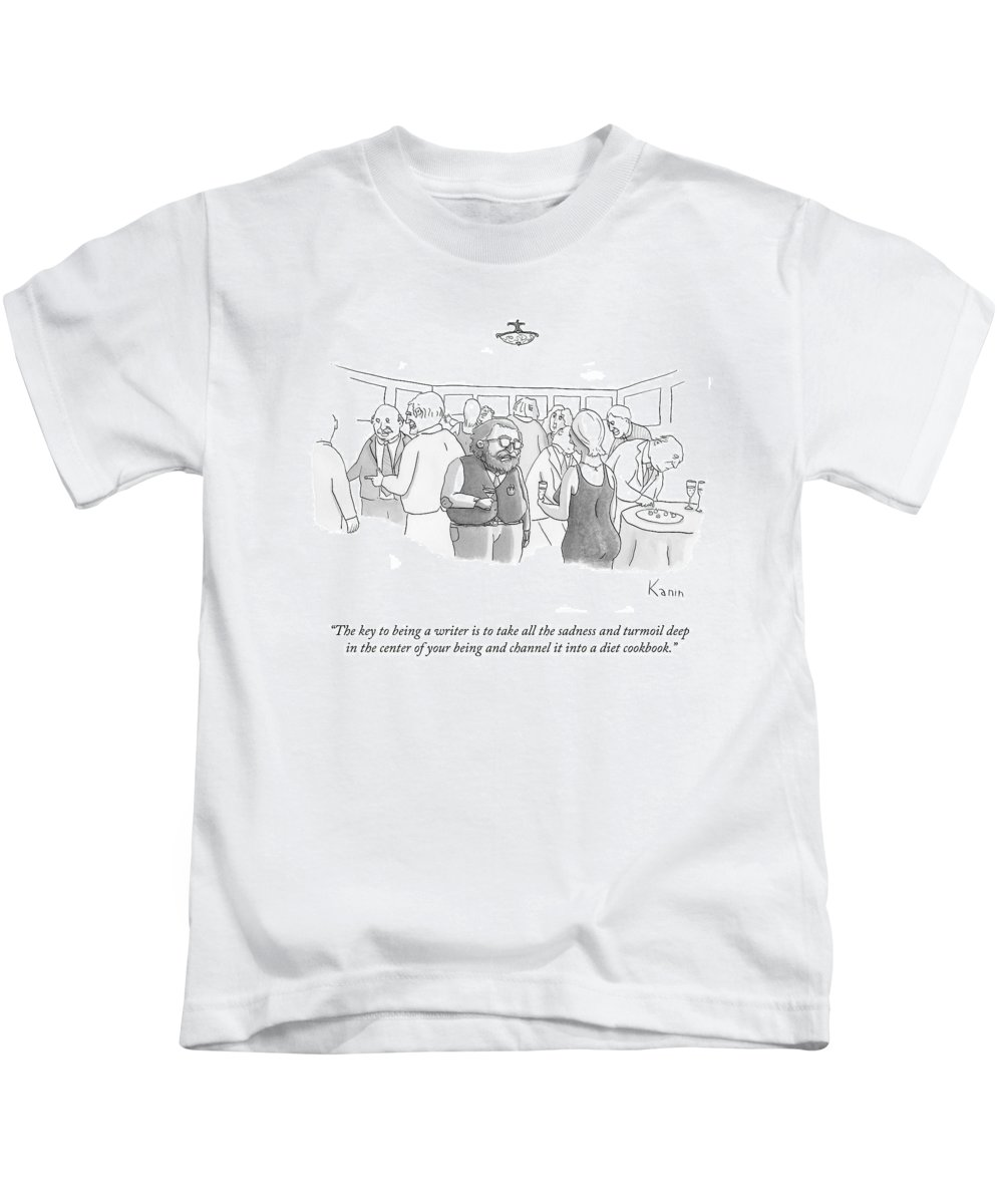 Author Kids T-Shirt featuring the drawing The Key To Being A Writer Is To Take All by Zachary Kanin