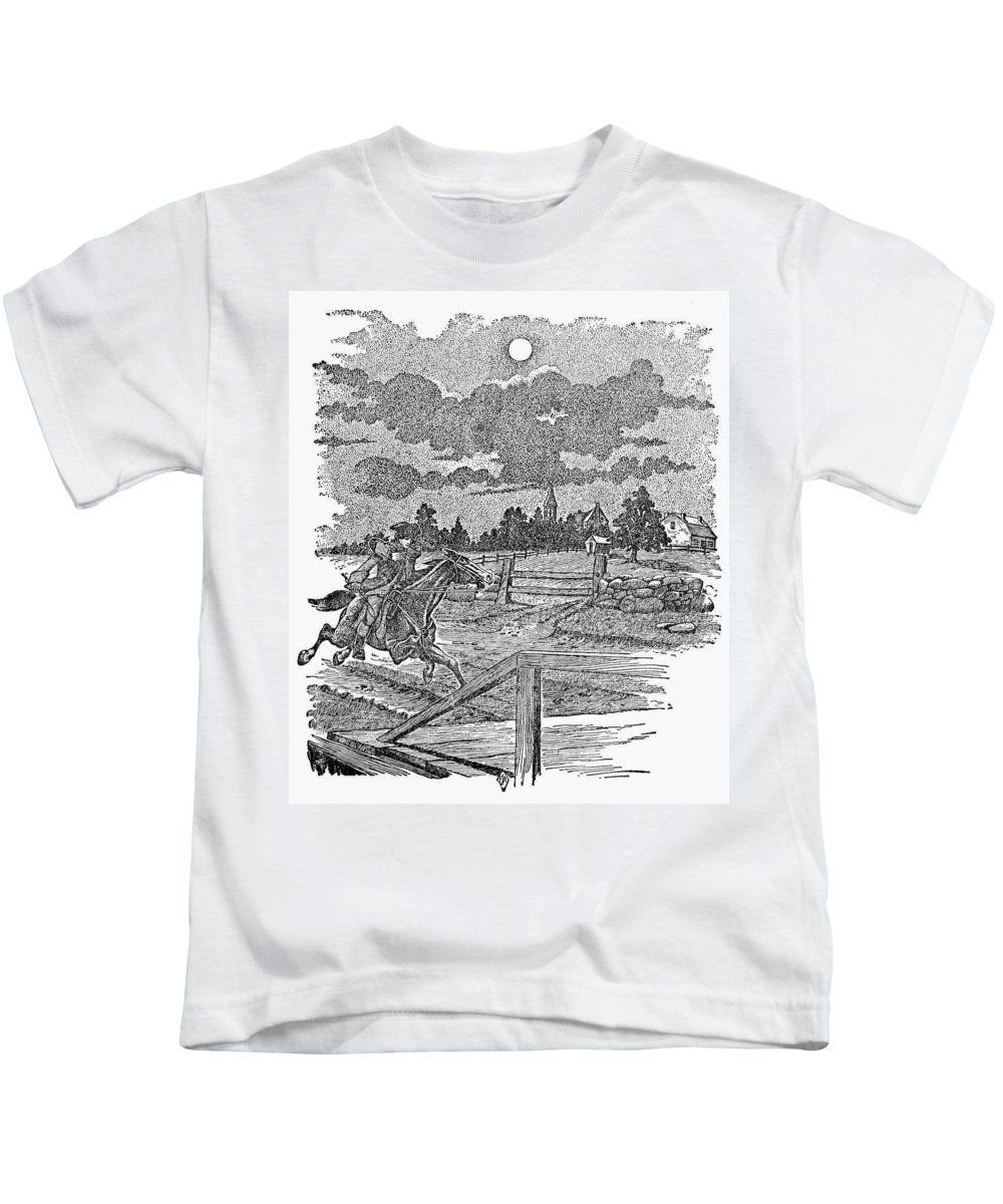 1775 Kids T-Shirt featuring the photograph Paul Reveres Ride by Granger