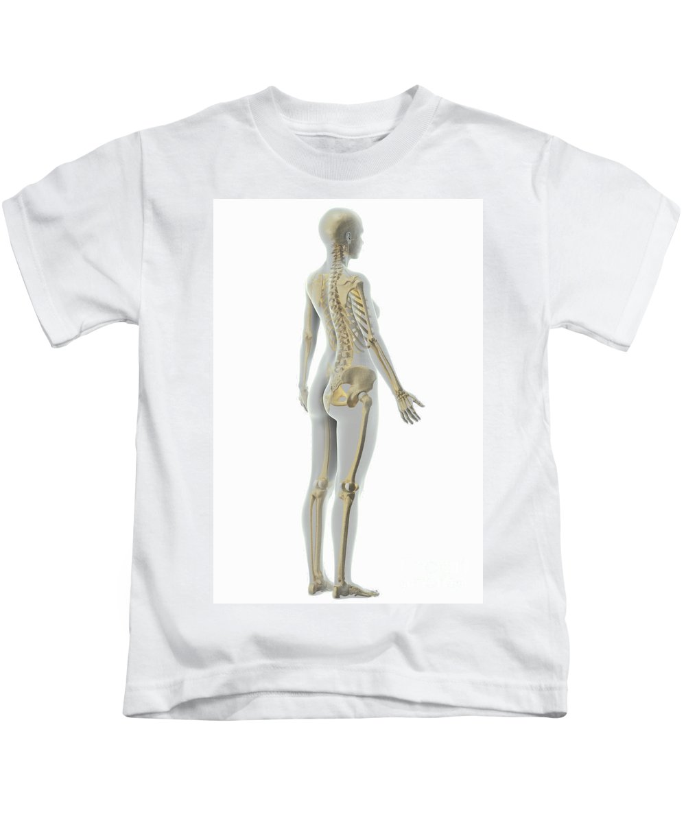 3d Visualisation Kids T-Shirt featuring the photograph The Skeleton Female by Science Picture Co