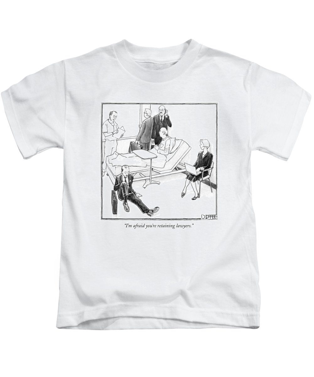 Doctors Kids T-Shirt featuring the drawing I'm Afraid You're Retaining Lawyers by Matthew Diffee