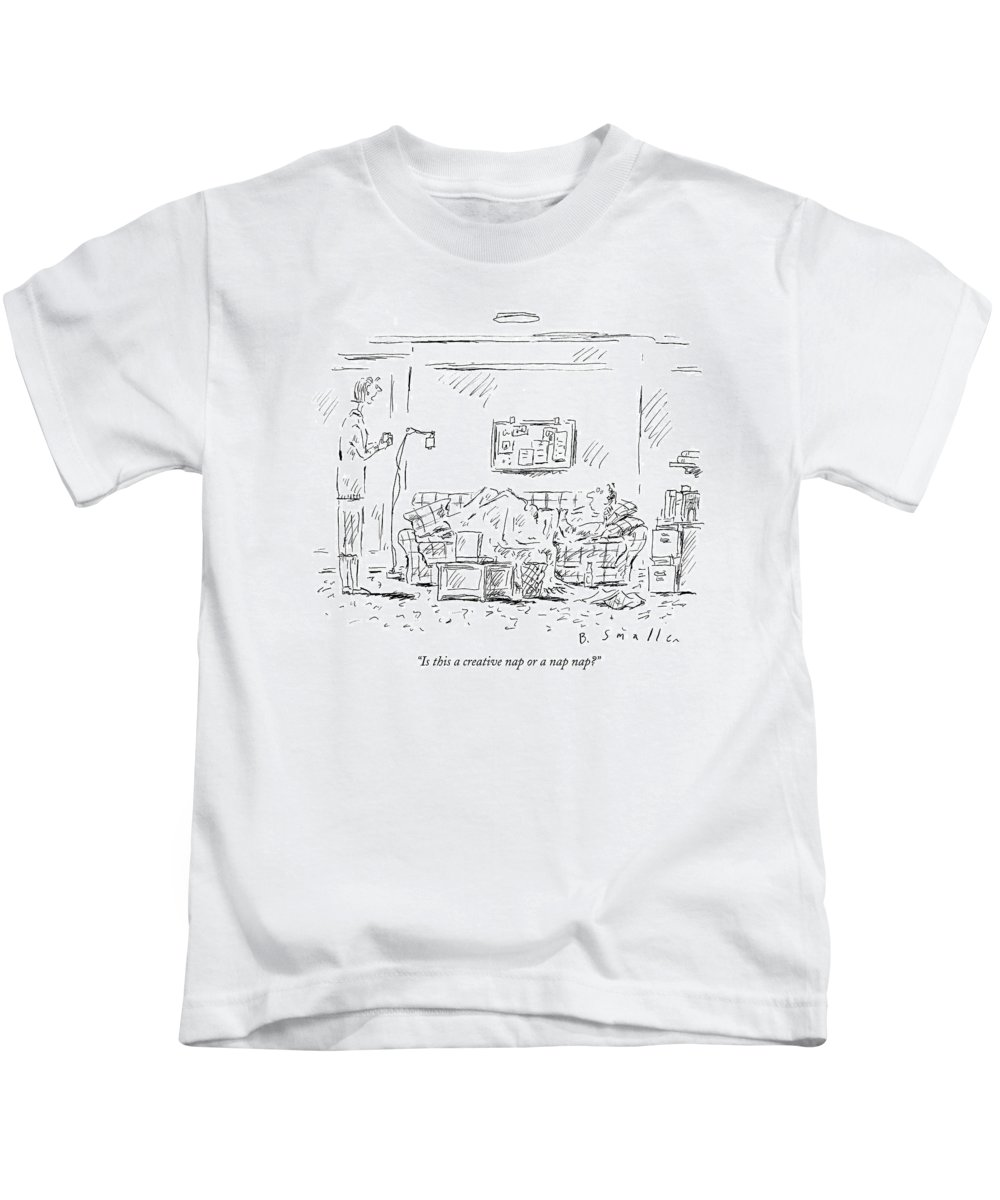 Dreams Word Play Relationships  (woman Speaking To Man Lying On Couch) 121350 Bsm Barbara Smaller Kids T-Shirt featuring the drawing Is This A Creative Nap Or A Nap Nap? by Barbara Smaller