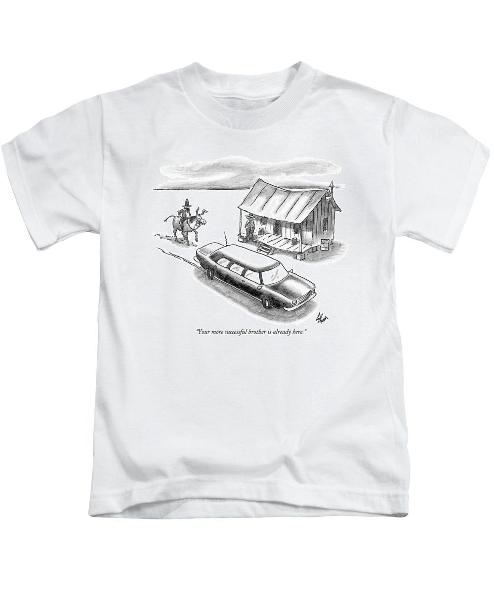 Rich Poor Relationships  (a Man On Horseback Arrives At A Shack To Find A Limo Parked In Front.) 121902 Fco Frank Cotham Kids T-Shirt featuring the drawing Your More Successful Brother Is Already Here by Frank Cotham