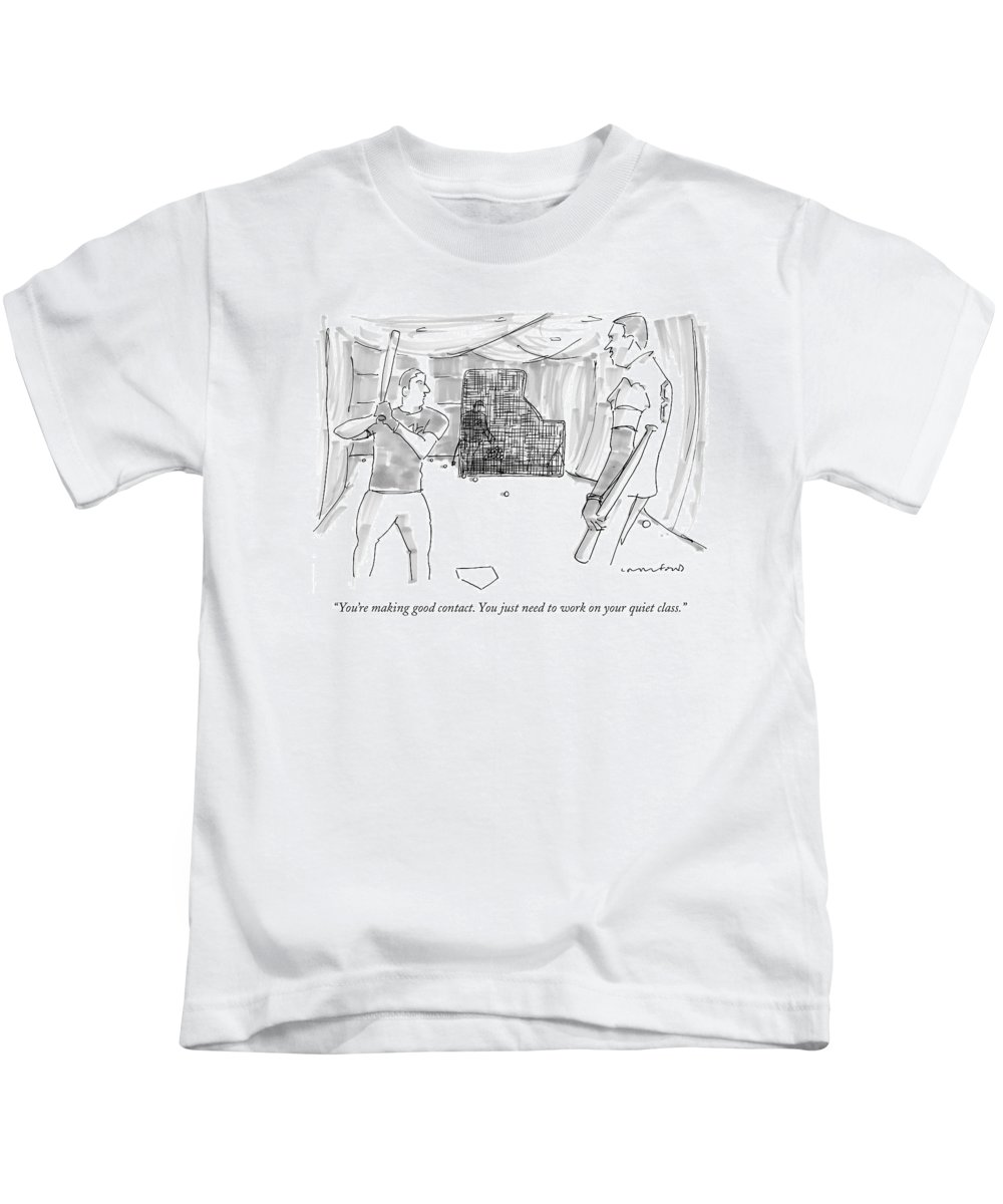 Word Play Sports Baseball   (one Baseball Player To Another.) 121211 Mcr Michael Crawford Kids T-Shirt featuring the drawing You're Making Good Contact. You Just Need To Work by Michael Crawford