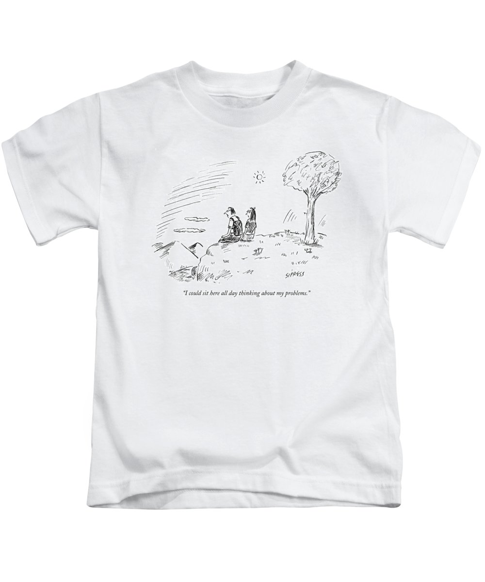 Word Play Obstacles   (couple Sitting On Cliff Overlooking Mountains.) 121036 Dsi David Sipress Kids T-Shirt featuring the drawing I Could Sit Here All Day Thinking by David Sipress