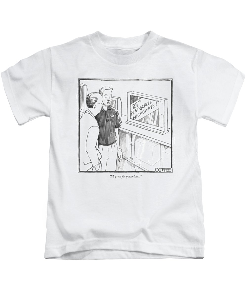 Consumerism Shopping Modern Life Inventions Food Mexican  (appliance Salesman Talking To A Customer About A 'flat Screen Microwave.') 121243  Mdi Matthew Diffee Kids T-Shirt featuring the drawing It's Great For Quesadillas by Matthew Diffee