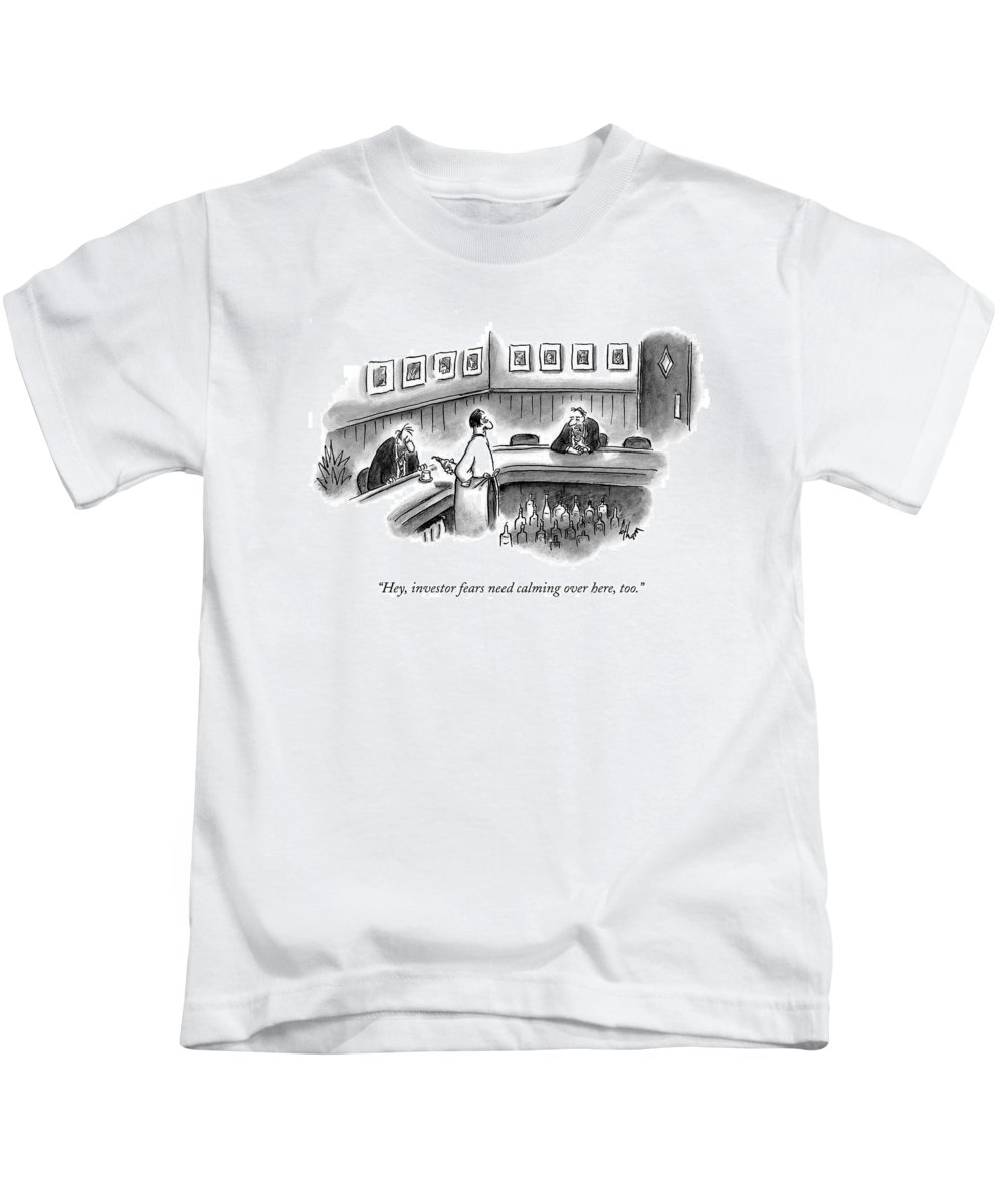 Bars Kids T-Shirt featuring the drawing Hey, Investor Fears Need Calming Over Here, Too by Frank Cotham