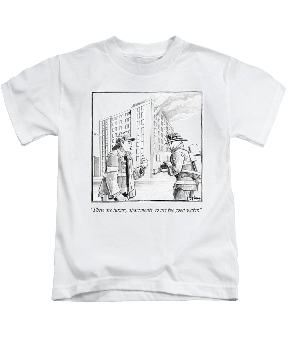 Luxury Apartments Kids T-Shirt featuring the drawing These Are Luxury Apartments by Matthew Diffee