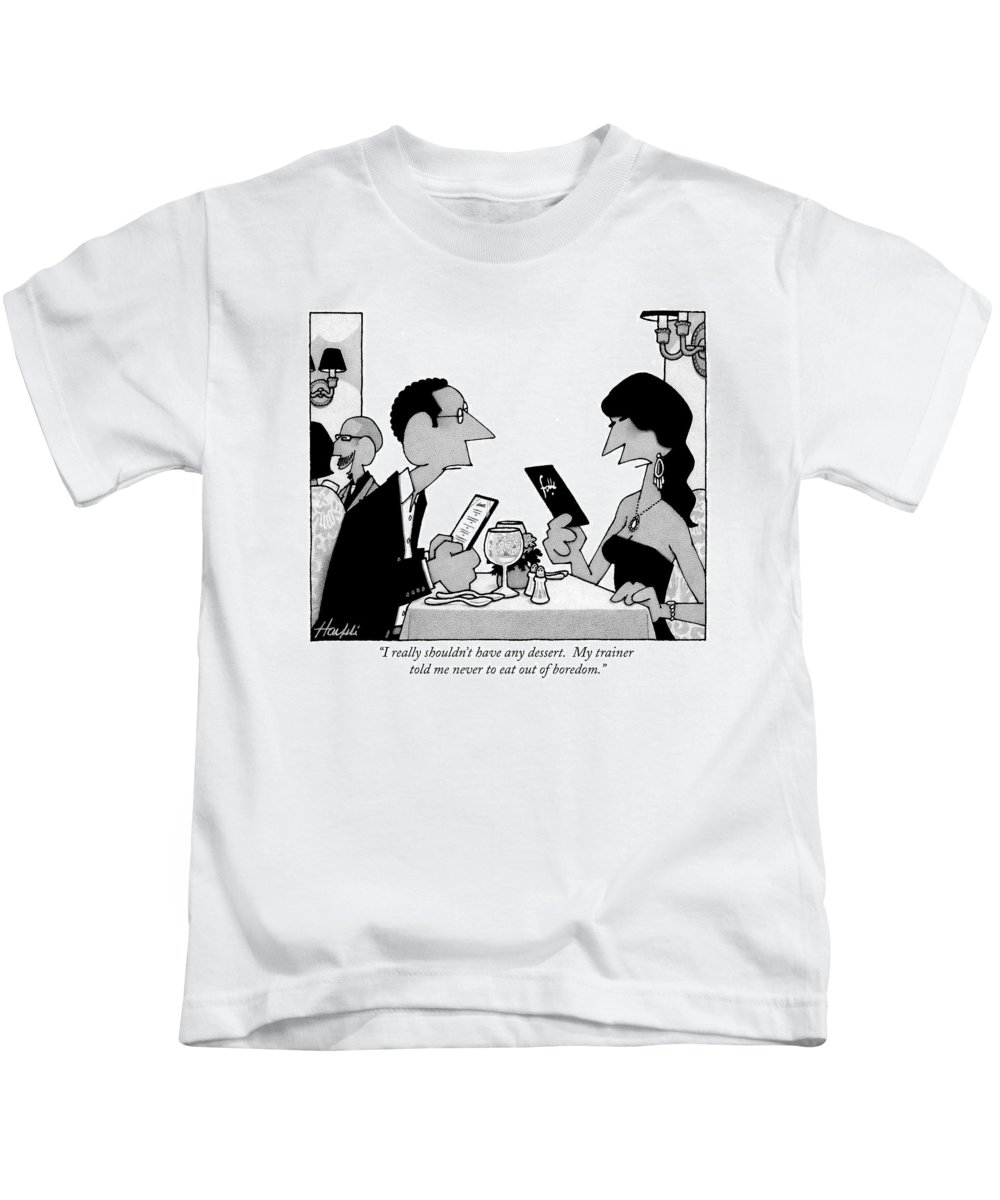 Diet Kids T-Shirt featuring the drawing I Really Shouldn't Have Any Dessert. My Trainer by William Haefeli