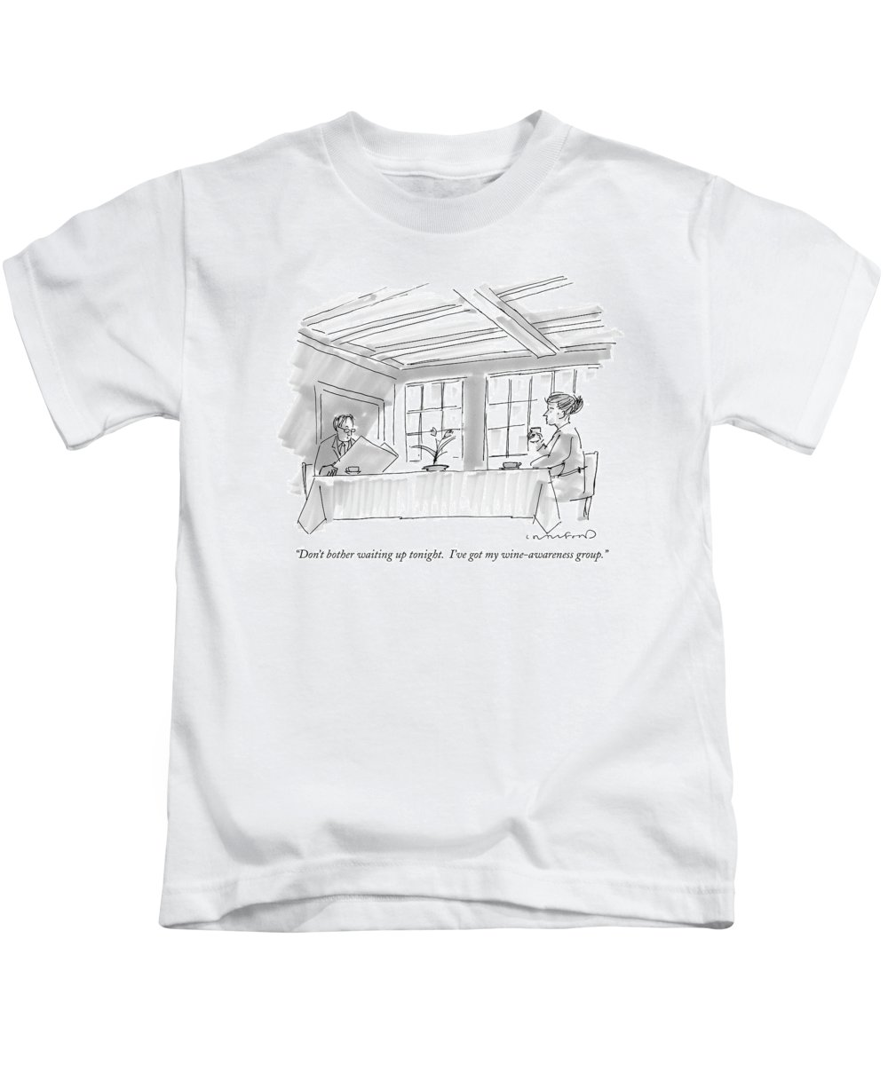 Word Play Problems Self-help  (couple At Breakfast Table.) 121042 Mcr Michael Crawford Kids T-Shirt featuring the drawing Don't Bother Waiting Up Tonight. I've Got by Michael Crawford