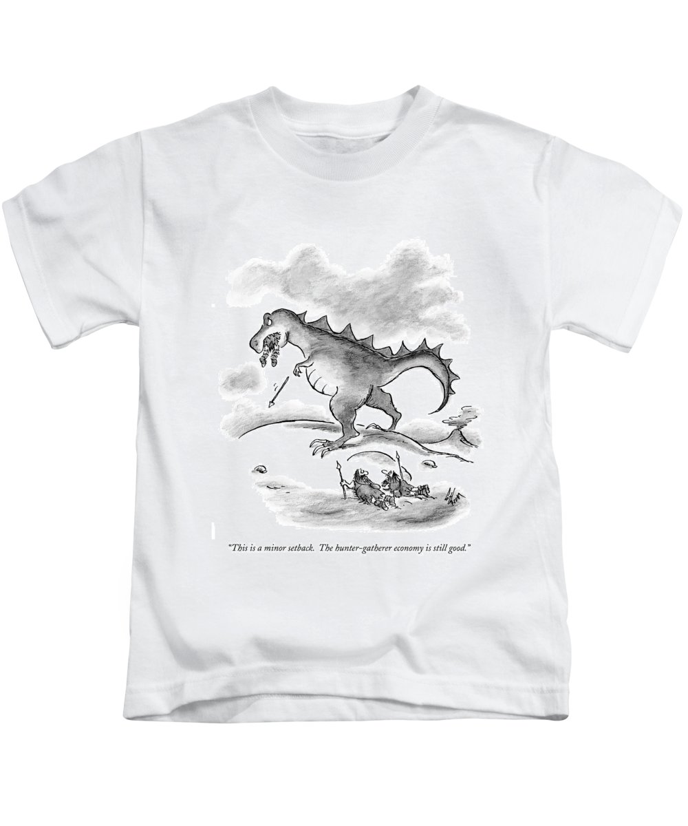 Economics Kids T-Shirt featuring the drawing This Is A Minor Setback. The Hunter-gatherer by Frank Cotham