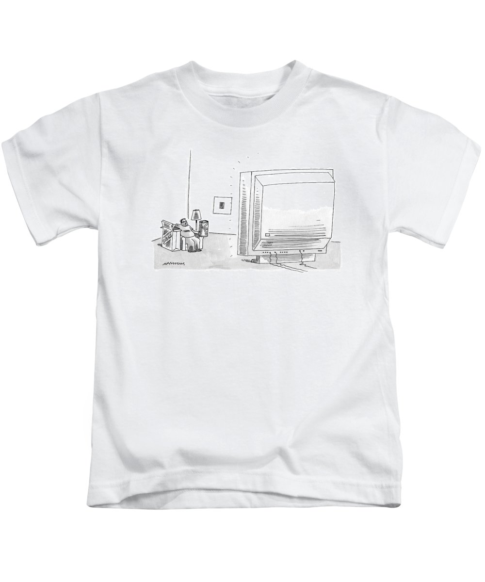 Consumerism Food Interiors  (man Watching A Huge T.v. Kids T-Shirt featuring the drawing New Yorker May 8th, 2006 by Mick Stevens
