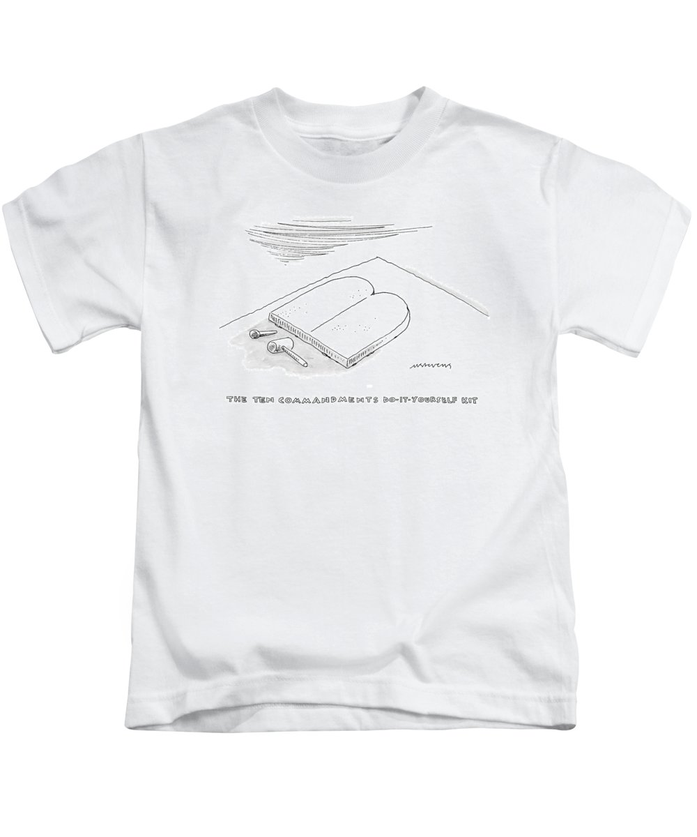 Walking Down Here Kids T-Shirt featuring the drawing The Ten Commandments Do-it-yourself Kit by Mick Stevens