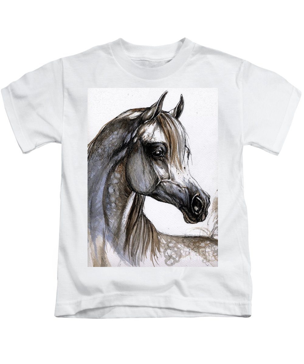Horse Kids T-Shirt featuring the painting Arabian Horse by Angel Ciesniarska