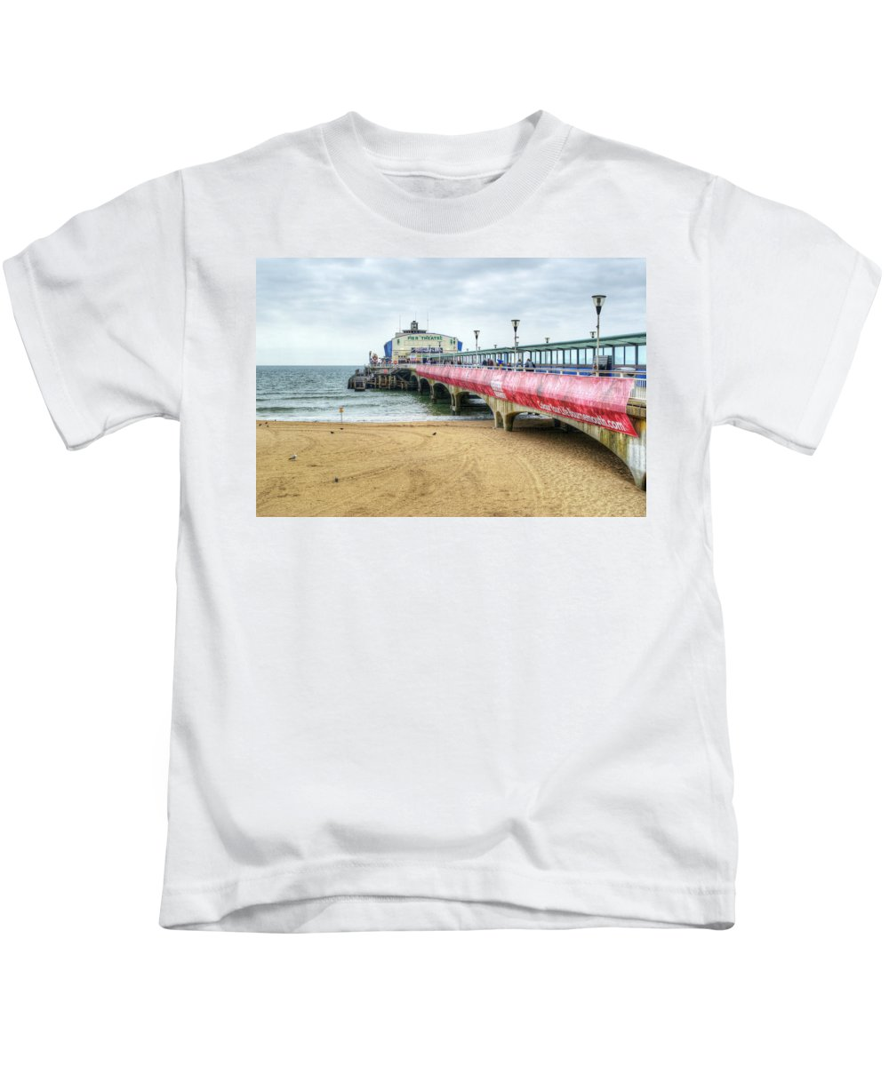 Bournemouth Pier Kids T-Shirt featuring the photograph Bournemouth Pier by Chris Day