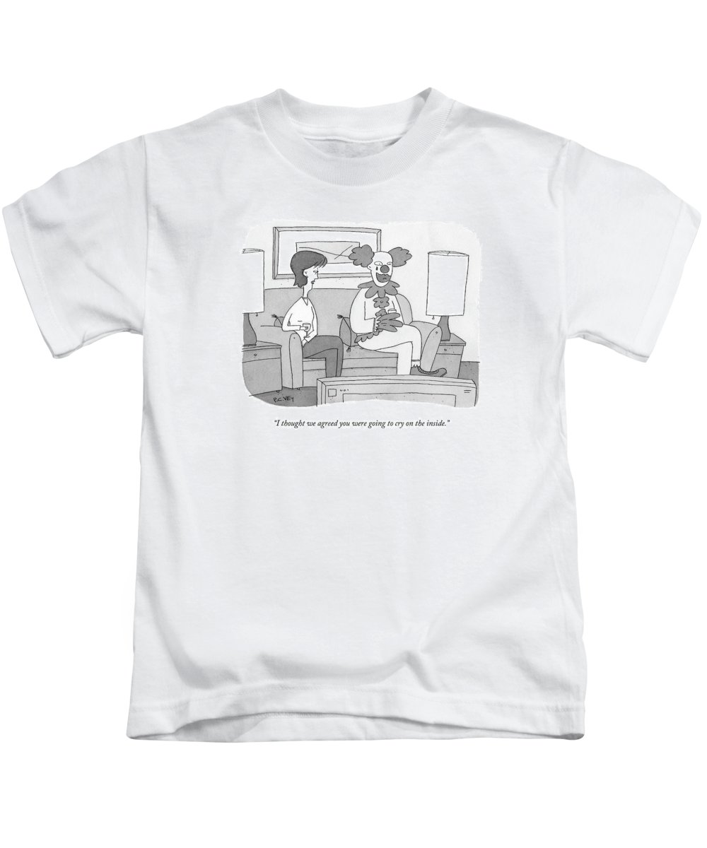 Relationships Kids T-Shirt featuring the drawing I Thought We Agreed You Were Going To Cry by Peter C. Vey