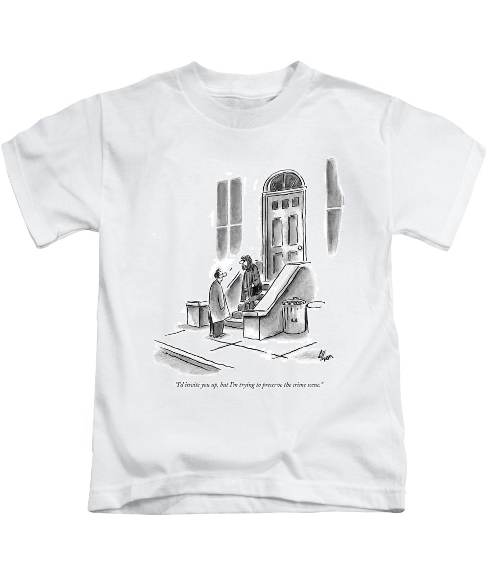 Language Word Play Crime Motivation  (woman Standing On Door Stoop Talking To Her Date.) 120890 Fco Frank Cotham Kids T-Shirt featuring the drawing I'd Invite by Frank Cotham