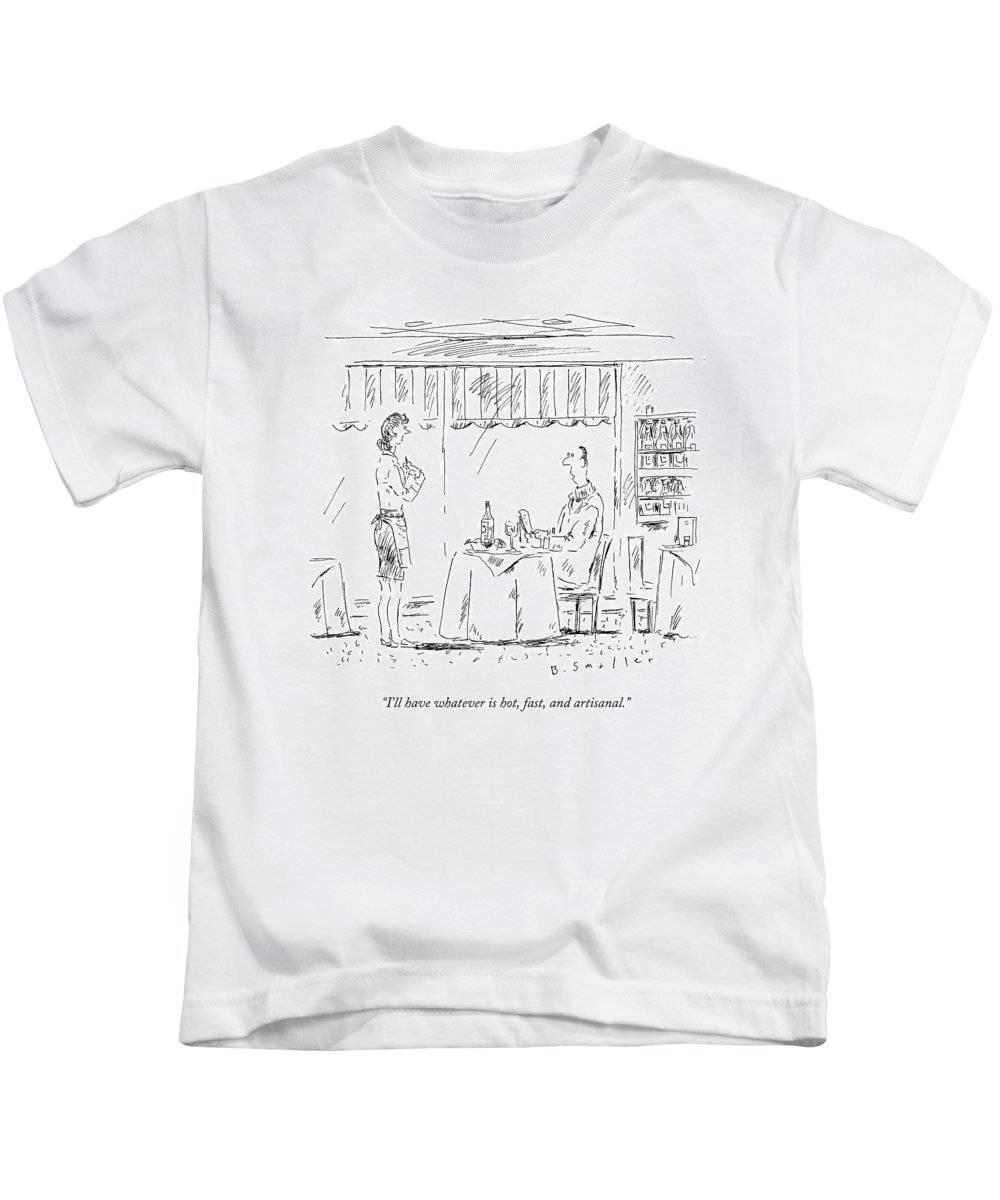 Restaurant Kids T-Shirt featuring the drawing I'll Have Whatever Is Hot by Barbara Smaller