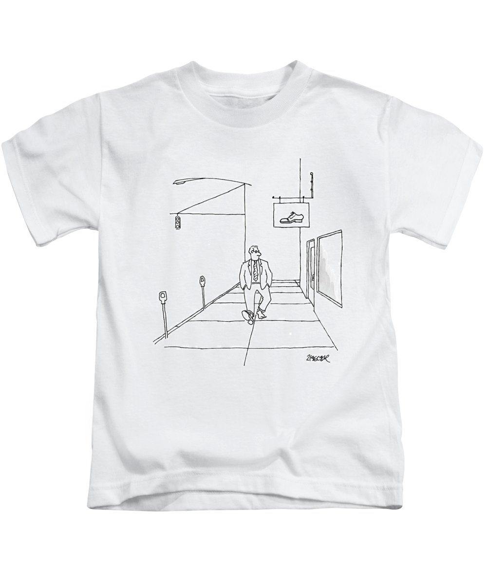 Signs Kids T-Shirt featuring the drawing New Yorker March 10th, 2008 by Jack Ziegler