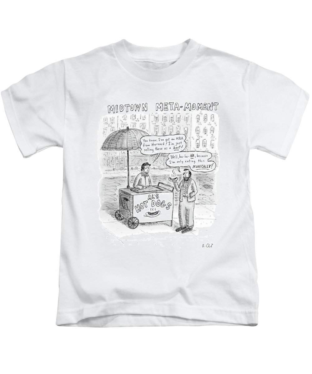 Irony Kids T-Shirt featuring the drawing New Yorker May 28th, 2007 by Roz Chast