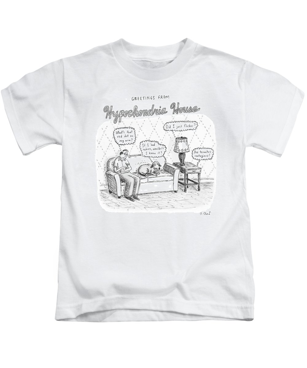 Worries Kids T-Shirt featuring the drawing New Yorker December 24th, 2007 by Roz Chast