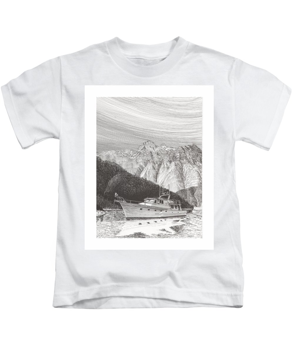 A Pen & Ink Yacht Portrait Of A 65 Foot Yacht Anchored In Desolation Sound Kids T-Shirt featuring the drawing Desolation Sound Quiet Anchorage   by Jack Pumphrey