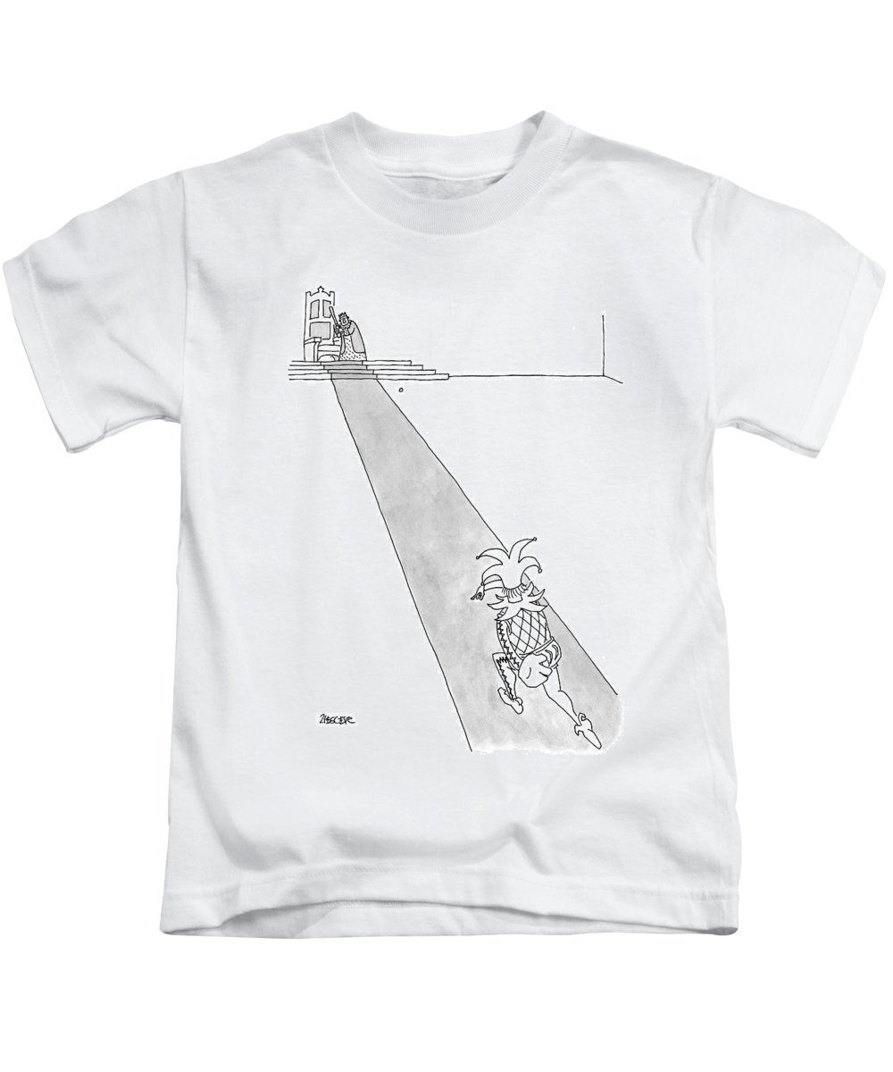 (a Court Jester Is Throwing A Baseball To A King. The King Stands Beside His Throne Kids T-Shirt featuring the drawing Captionless by Jack Ziegler
