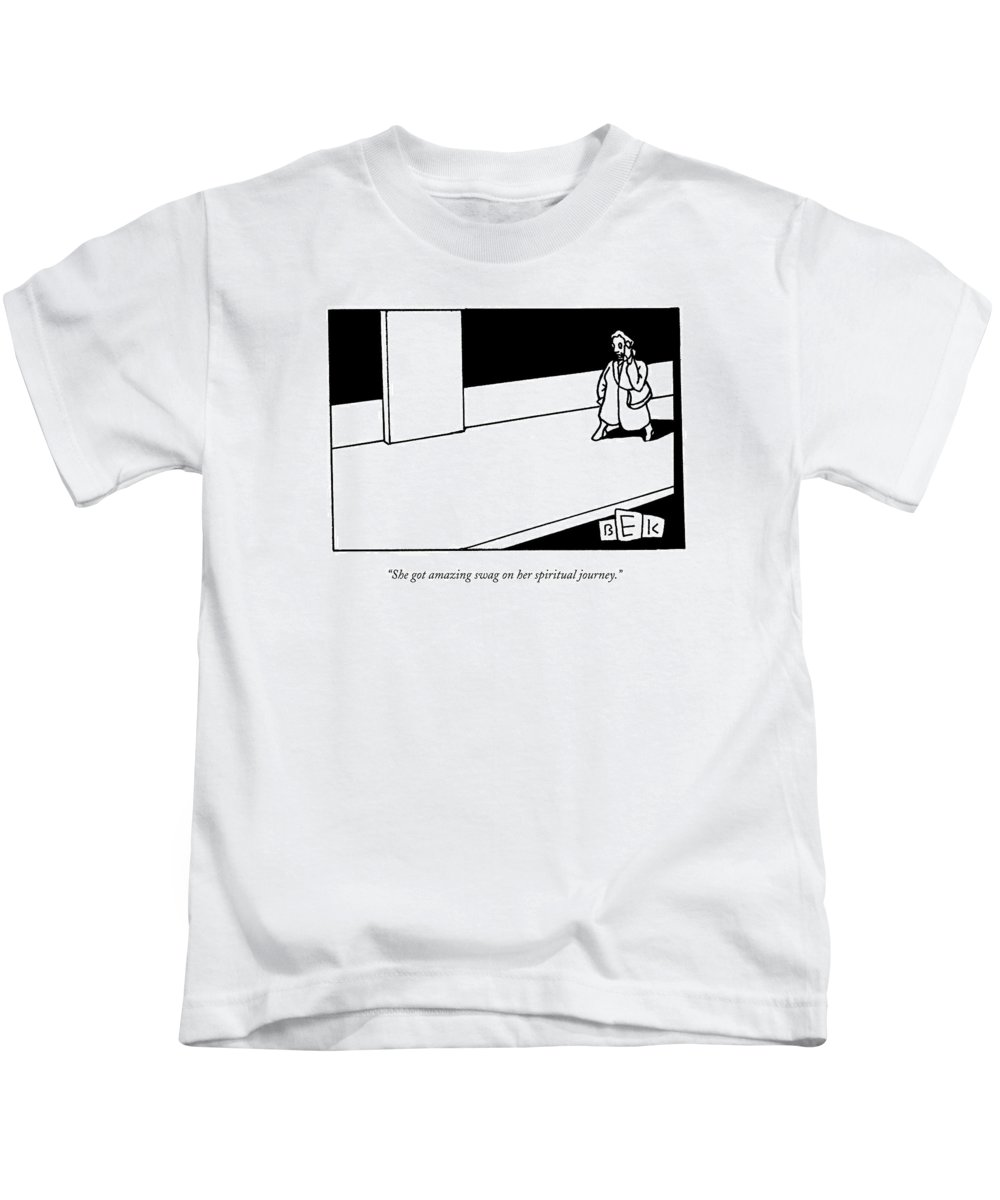 Swag Kids T-Shirt featuring the drawing She Got Amazing Swag On Her Spiritual Journey by Bruce Eric Kaplan