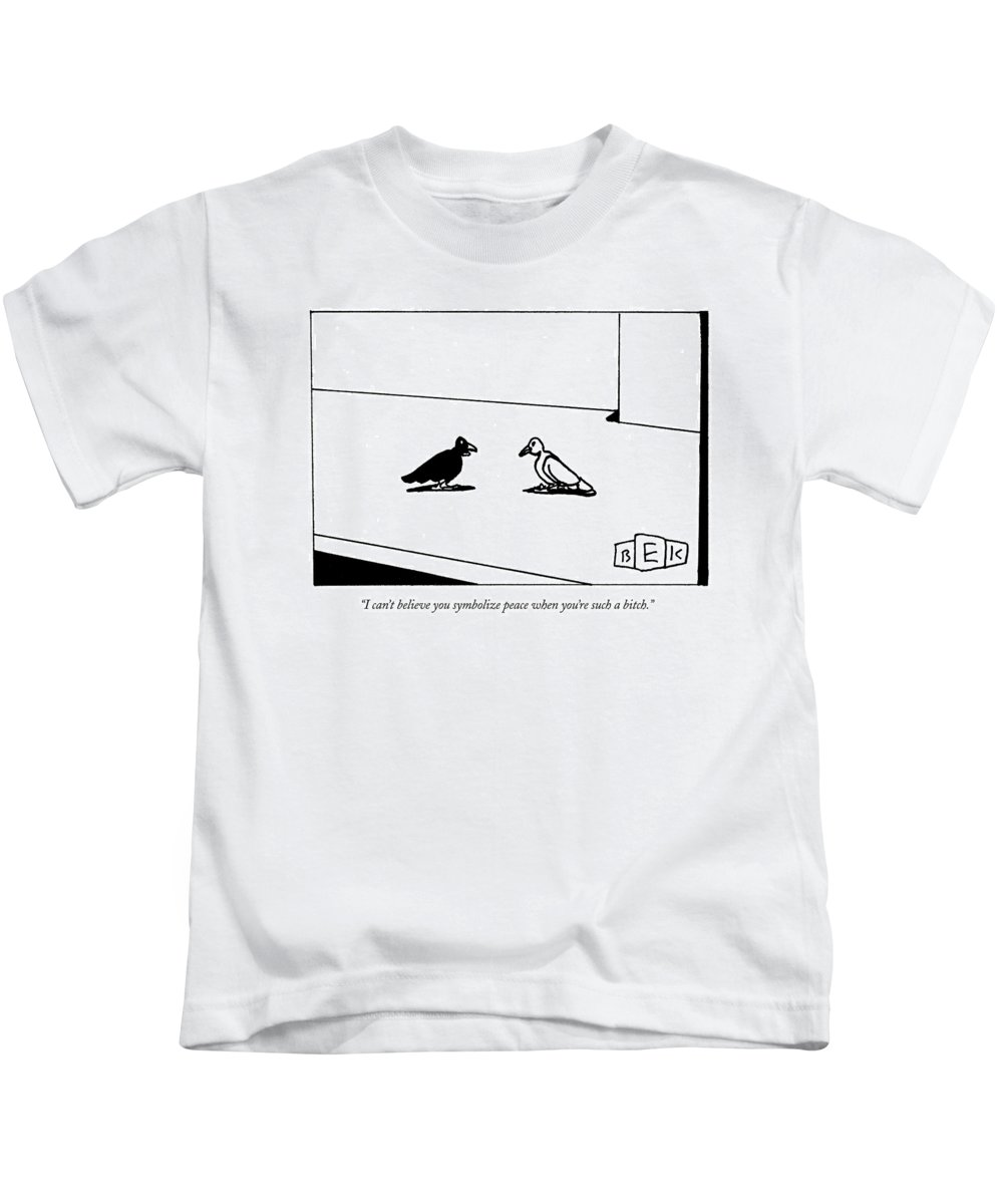 Word Play Birds Talking Kids T-Shirt featuring the drawing I Can't Believe You Symbolize Peace When You're by Bruce Eric Kaplan