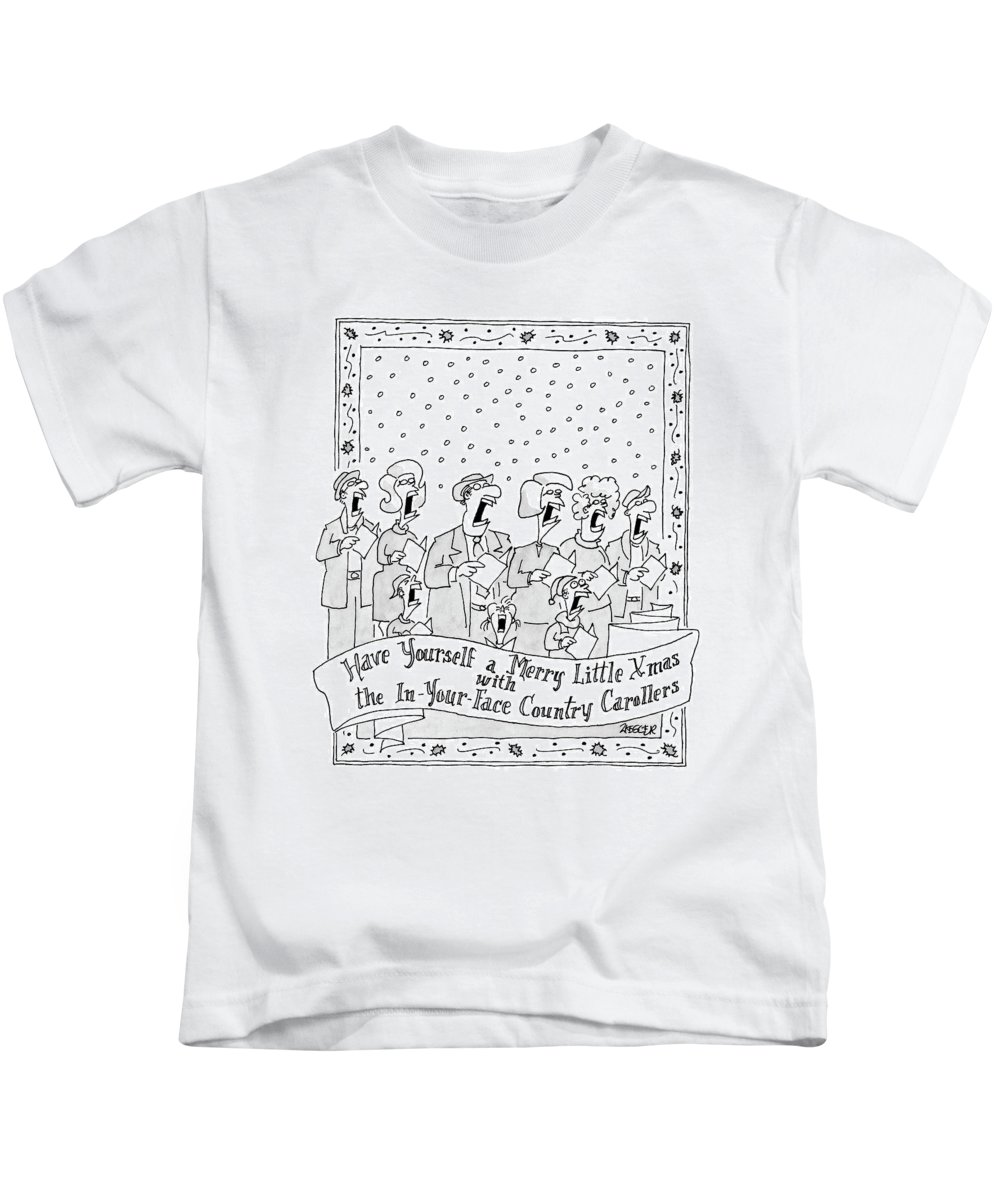 Holidays Song Lyrics Word Play  (group Of Christmas Carolers Singing. ) 121721 Jzi Jack Ziegler Kids T-Shirt featuring the drawing Have Yourself A Merry Little Xmas by Jack Ziegler