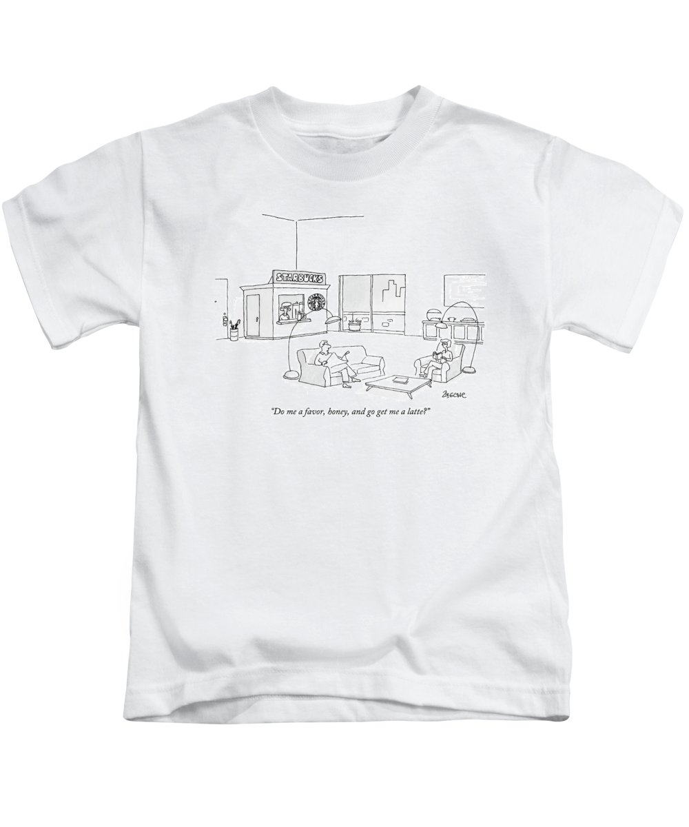 Interiors Coffee Trendy Lazy Shop Relax Husband Wife Relationship  (couple In Large Loft With Their Own 'starbucks' Cafe In The Corner Of The Room.) 121822 Jzi Jack Ziegler Kids T-Shirt featuring the drawing Do Me A Favor by Jack Ziegler