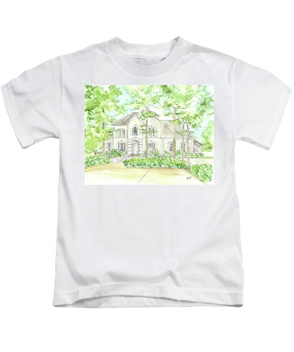House Portrait Kids T-Shirt featuring the painting Custom House Portrait Or Rendering Sample by Lizi Beard-Ward