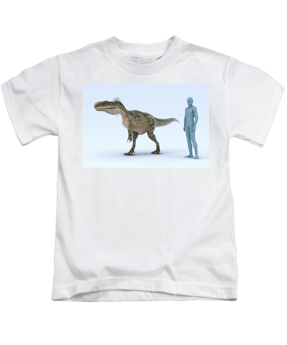 3d Visualisation Kids T-Shirt featuring the photograph Dinosaur Monolophosaurus by Science Picture Co