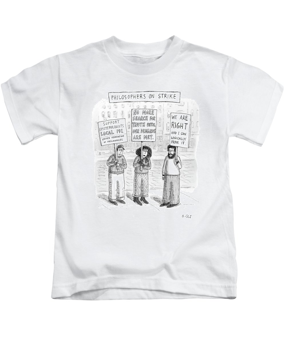 Strike Kids T-Shirt featuring the drawing New Yorker December 3rd, 2007 by Roz Chast