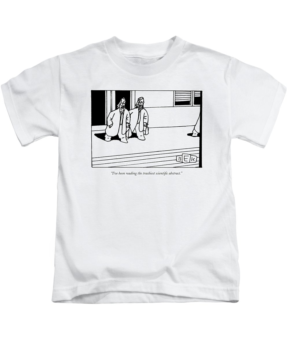 Science Literature Word Play Kids T-Shirt featuring the drawing I've Been Reading The Trashiest Scientific by Bruce Eric Kaplan