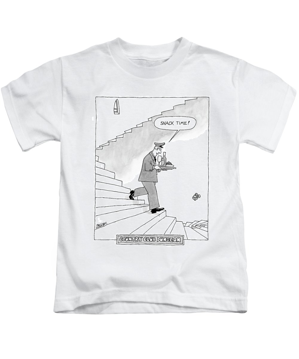 Waiters - General Kids T-Shirt featuring the drawing Country Club Dungeon by Jack Ziegler